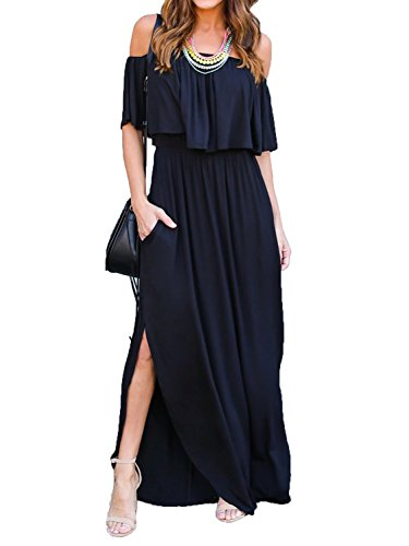Choies Women's Off Shoulder Ruffle Maxi Dress Side Split Pockets Long Dress,Black,Small (Side Records)