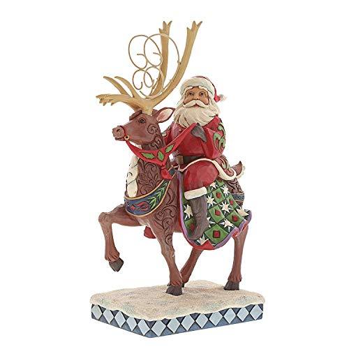 (Enesco Jim Shore Heartwood Creek Santa Riding Reindeer Figurine, 10.75