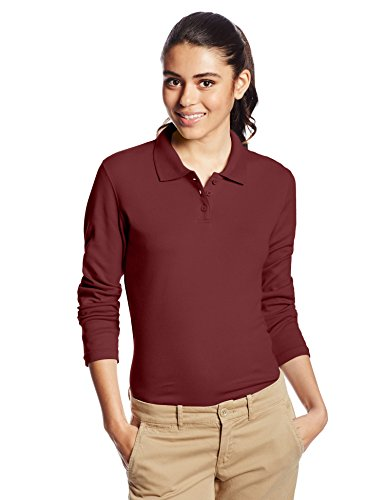 CLASSROOM Juniors Junior Long Sleeve Fitted Polo, Burgundy, Small
