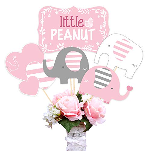 Pink Elephant Centerpiece Sticks Table Toppers for Girls Baby Shower Birthday Party Decoration 15 Pack