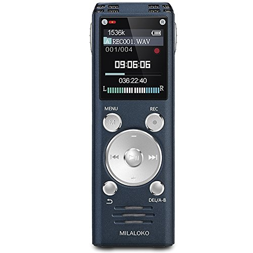 Digital Voice Recorder by MILALOKO Blue, 8GB 580Hrs Capacity Digital Audio Recorder Dictaphone,Double Microphone,Metal Body,Auto Saving File,PCM Recording Device, MP3 Player