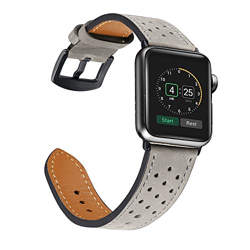 Secbolt Leather Band Compatible Apple Watch 42mm Iwatch Nike+, Series 3, Series 2, Series 1 Perforated Strap for Men, Gray