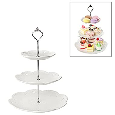 Decorative 3 Tier White Ceramic & Metal Elegant Tea Party Serving Platter Cupcake Dessert Stand - MyGift®