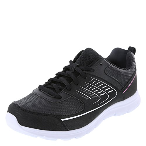 Cross Trekkers Black Pink Women's Shuffle Sneaker 9.5 Wide (Trekker Sneaker)