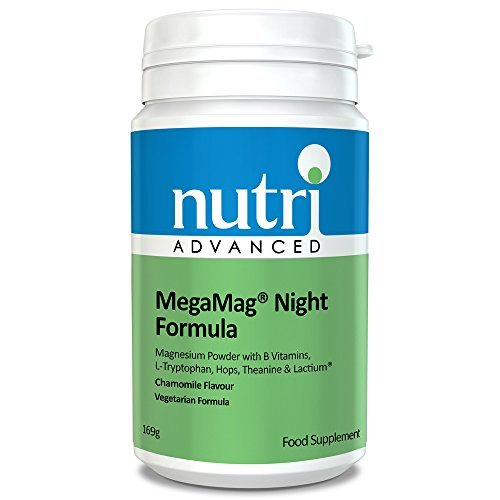MegaMag Night Formula - 169g - Chamomile - Powdered Magnesium, L-Tryptophan, Hops, L-Theanine & Lactium by Nutri Advanced