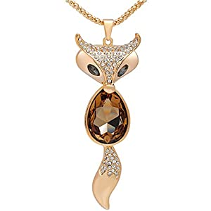 Lovely Fox Rose Gold Plated Fox Shape Austrian Crystal Pendant Necklace for Womens in Fashion Jewelry