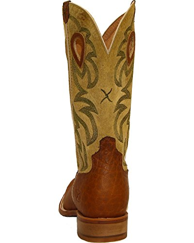 Gedraaide X Heren Plooistok Cowboylaarzen Vierkante Neus - Mrsl035 Donkerbruin