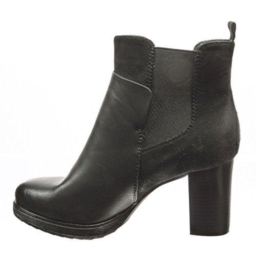 Angkorly - Zapatillas de Moda Botines chelsea boots low boots mujer piel de serpiente Talón Tacón ancho alto 8 CM - plantilla Forrada de Piel - Negro