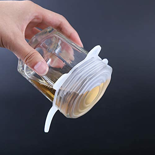 Boles o Tarros Microondas Horno o Refrigerador BETOY Tapas Silicona Azul Y Blanco para Lavavajillas 12 Piezas Tapas De Silicona El/ásticas Tazas Tapa Ajustables 6 Tama/ños Sin BPA