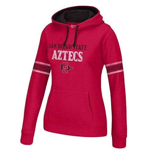 J America NCAA San Diego State Aztecs Women's Essential Arm Stripe Hoodie, Large, Cardinal/Black