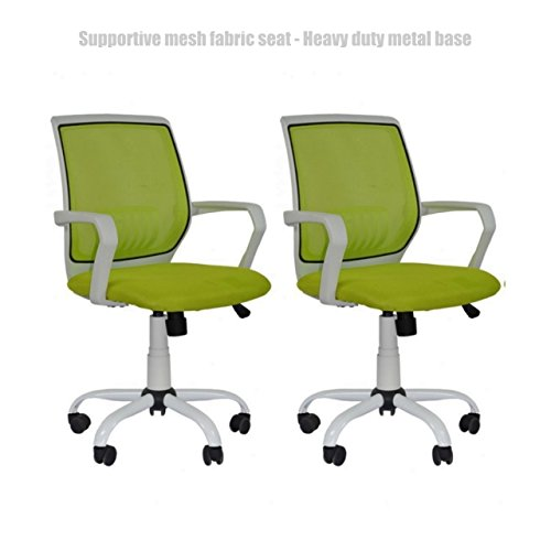 Modern Office Desk Task Chair Mid Back Design Breathable-Mesh-Fabric Comfortable Armrests Heavy Duty Metal Base Ergonomic Design Executive Chair - Set of 2 Green - Town Shopping Doncaster