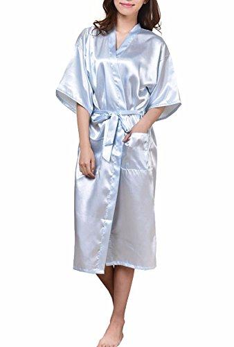 DELEY Unisex Pareja Mujeres Kimono Satén Seda Suave Dormir Peignoir Bata de Baño Albornoces Ropa de Dormir Camisones Azul Oscuro