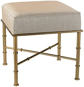 Sterling Home Gold Cane Cream Metallic Linen bench, 18 x 18 x 18 , Multicolor