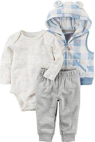 Carter's Baby Boys' 3 Piece Bear Print Little Vest Set 9 Months (Carters Piece 3 Bear)