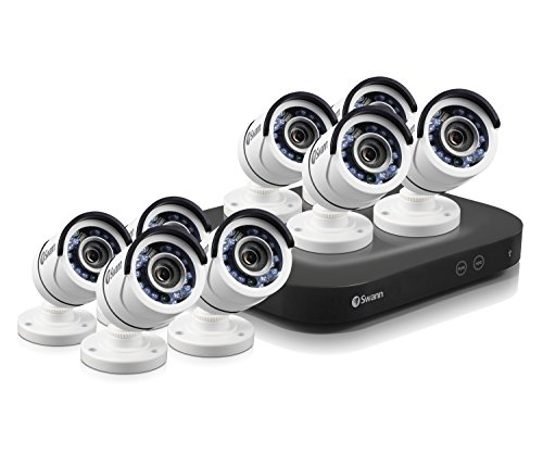 Swann PRO SERIES HD 8-Channel, 8-Camera Indoor/Outdoor Wired 2TB DVR Surveillance System Black/white SWDVK-8HD5MP8-US