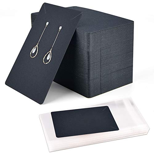 Coopay 120 Pieces Earrings and Necklace Display Cards with 120 Self-Sealing Bags Earring Card Holder, Earring Display Cards for Ear Studs, Earrings, Necklaces, Black Color, 3.5x2.4inch