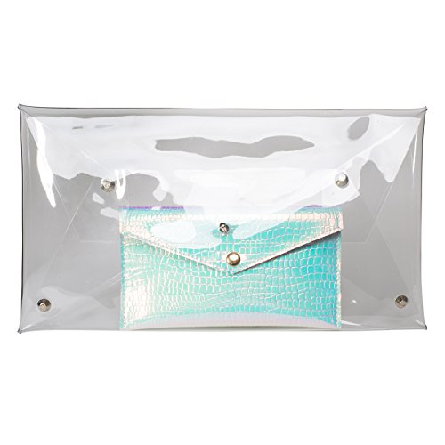 Zarapack - Cartera de mano para mujer Transparente transparente Transparente - Bag with Inner Pouch note color number