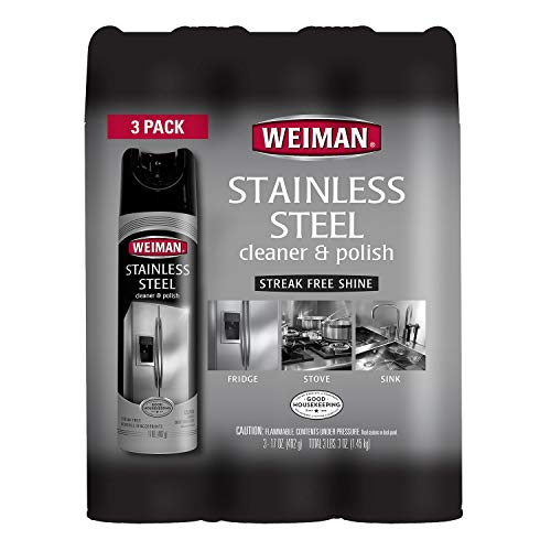 Weiman Stainless Steel Cleaner & Polish Aerosol, 12 Oz (Pack of 3) (Best Steel Stainless Cleaner)
