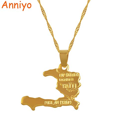 Map Necklace Pendants   for Women/Girls Gold Color Jewelry   Gifts Map of Haiti