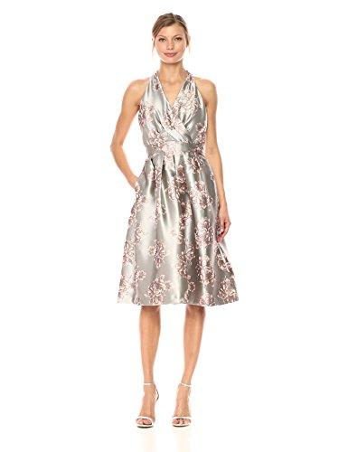 Chetta B Women's Floral Brocade Party Dress, Silver/Blush, 16 (Silver Brocade Dress)