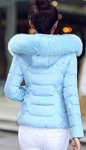 Slim Con Blu Colletto Giacca Da Sintetica Caldo Collo Donna Cotone Blackmyth In Fit Nera Imbottita Invernale Pelliccia qzwxaS4