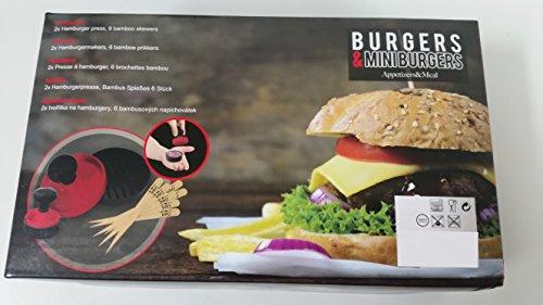 Hamburgerpresse 10-teiliges Set / Mit 2 Burgerpressen: XL-Groß 11cm und Normal 6cm / Inklusive 6 Bambus-Spieße / Inklusive kleinem Rezeptheft / Hamburger selber pressen!