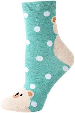 1ペアの女性の綿の靴下動物キャラクタードットプリント女性の冬の靴下