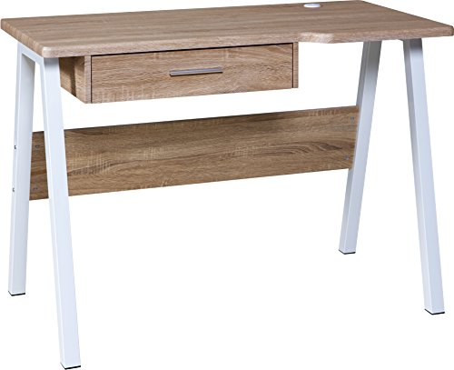 - OneSpace Basics Desk with Drawer and Dual USB Charging Station, Oak