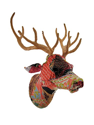 - Zeckos Recycled Indian Sari Fabric Covered Deer Head Wall Mount Bust