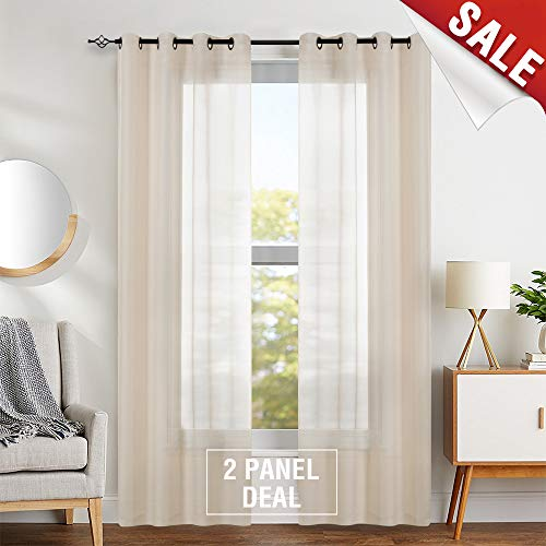 (Sheer Curtains 95 inch Living Room Window Curtains Bedroom Drapes Textured Voile Solid Grommet Sheer Window Panels for Kitchen 2 Panels Taupe)