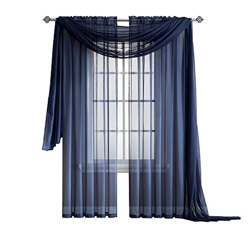 Warm Home Designs Pair of Standard Length Navy Blue Sheer Window Curtains. Each Voile Drape is 56 X 84 Inches in Size. Great for Kitchen, Living, Kids Room. 2 Fabric Panels Included. Color: Navy 84 (Sheers Blue)