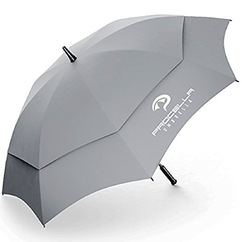 Procella Golf Umbrella 62 Inch Large Oversize Windproof Waterproof Automatic Open Rain & Wind Resistant Vented Double Canopy Best Golf-Sized Stick Umbrellas For Men and Women Sturdy Portable