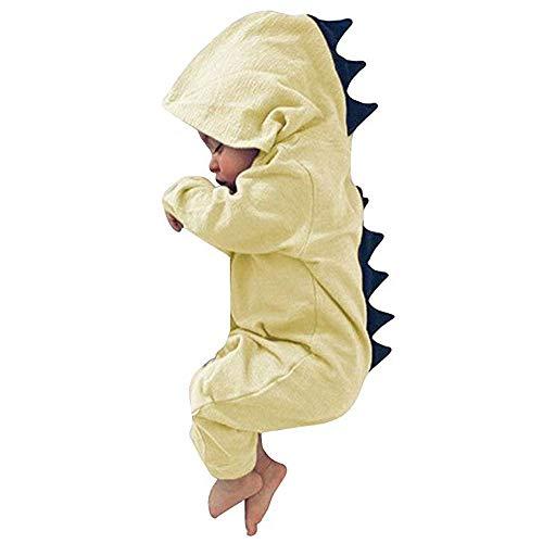 (Pukemark Newborn Baby Toddler Boys Girls Cartoon Dinosaur Hoodie Romper Onesies Jumpsuit Outfits Infant Layette Set Unisex Yellow)