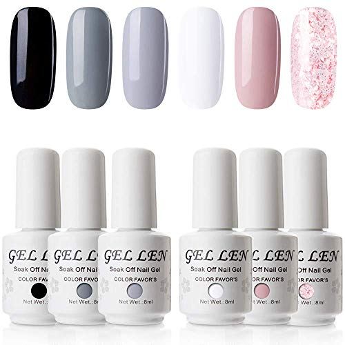 Gellen Gel Nail Polish 6 Colors Set - Simple and Classic Series, Elegant Nail Art Colors Black White Grays Glitter Pink Manicure Kit