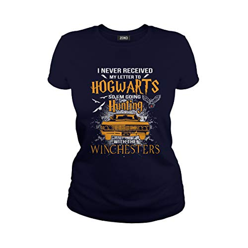 Women's I Never Received My Letter to Hogwarts So I'm Going Hunting with The Winchesters T-Shirt (3XL, Navy) ()