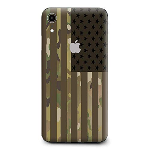 Skin Decal Vinyl Wrap for Apple iPhone XR | Phone Stickers Skins Cover| American Flag camo Military Service USA Desert ()