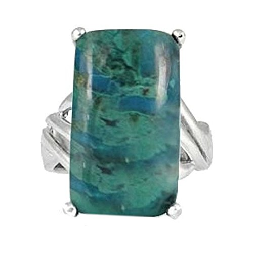 Sterling Silver Ring with Baguette Chrysocolla Stone BTS-NRB6648 CRY R