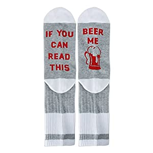 Zmart If You Can Read This Novelty Funny Saying Combed Cotton Crew Dress Beer Coffee Taco Wine Socks