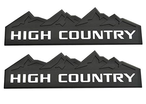 Yuauto 2Pc HIGH Country Car Emblem, Replacement for Badges Door Tailgate 3D Nameplate for Chevrolet Silverado 1500 2500HD Sierra 3500HD (Black White)