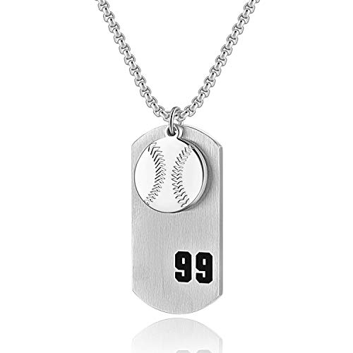 Holy Athletes Religion Necklace Baseball Player Number 99 Dog Tag Pendant, I CAN Do All Things Strength Necklace (Silver) ()