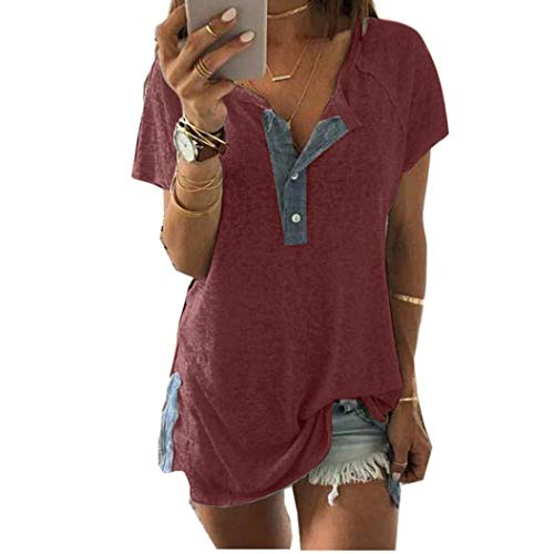 - Womens Tops Clearance, KIKOY Women Loose Patchwork Casual Button Short Sleeve Blouse T Shirt Tops