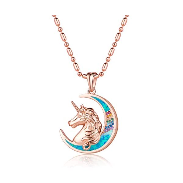 Karseer Unicorn Crescent Moon Pendant Necklace Rainbow Crystal and Glitter Opal Dream Star Series Magic Necklaces… 3