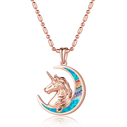(Karseer Unicorn Crescent Moon Pendant Necklace Beautiful Mane Rainbow Crystal and Glitter Blue Opal Magic Necklace Jewelry Christmas Year Gift for Women Girls Kids (Rose Gold))