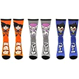 Dragon Ball Z Socks Women & Men's (3 Pair) - Goku, Frieza, & Vegeta Crew Socks (1 Size) - DBZ Cosplay Merchandise Apparel