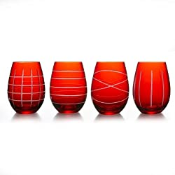 Stemless Goblets, Red, Set of 4