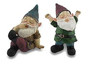 Pair of Sleepy, Nap Time Garden Gnomes