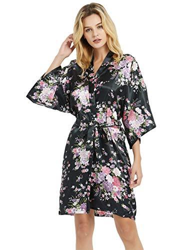 Women's Plus Size Floral Bridesmaid Robes Short Satin Robes Bridal Party Sleepwear,Black,1X/2X (Womens Satin Robes Short)