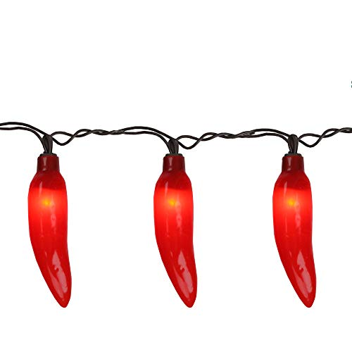 35-Count Red Chili Pepper Patio String Light Set, 22.5ft Brown -