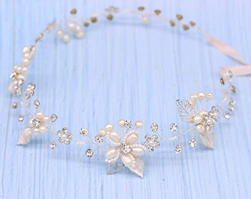 Oriamour Silver Bridal Crystal Headband with Freshwater Pearls Flower Design Wedding Hair Accessories