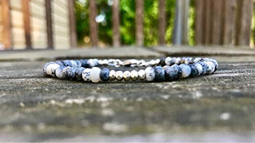 Dainty Merlinite and Silver Nugget Wire and Clasp Bracelet Handmade Dendritic Opal Rondelle and Karen Hill Tribe Silver Nugget Bracelet by Gemswholesale